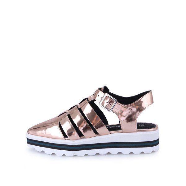 #ReduceriPantofi fara toc, -50% Pantofi cu platformă Sixtyseven - bronz metalic