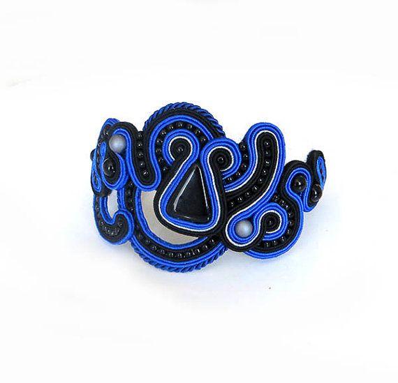 Unique cobalt blue black Soutache Cuff Bracelet by sutaszula