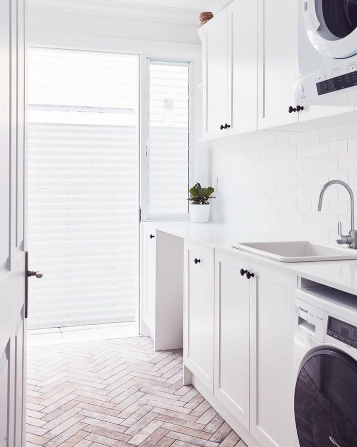 Amber Tiles Kellyville: pinned from Instagram (@webb_lizzie). Laundry envy #herringbone #timberlook #subway #laundryinspiration #ambertiles #ambertileskellyville