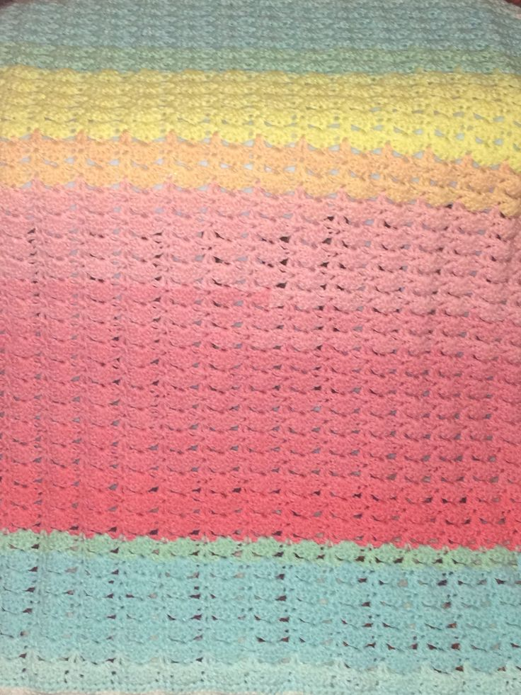 Excited to share the latest addition to my #etsy shop: Crochet baby blanket/crib blanket/pram blanket multicoloured fans