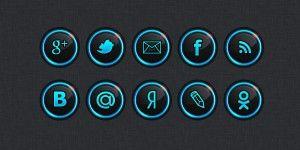 Круглые иконки социальных сетей (psd)