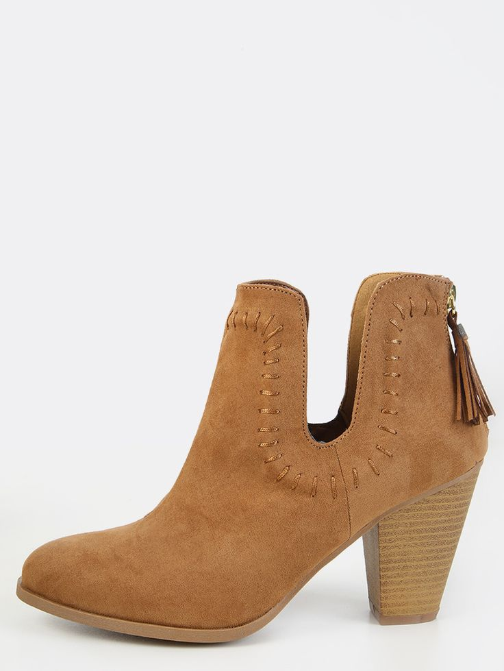 Stitched Stacked Heel Ankle Booties CAMEL | MakeMeChic.COM