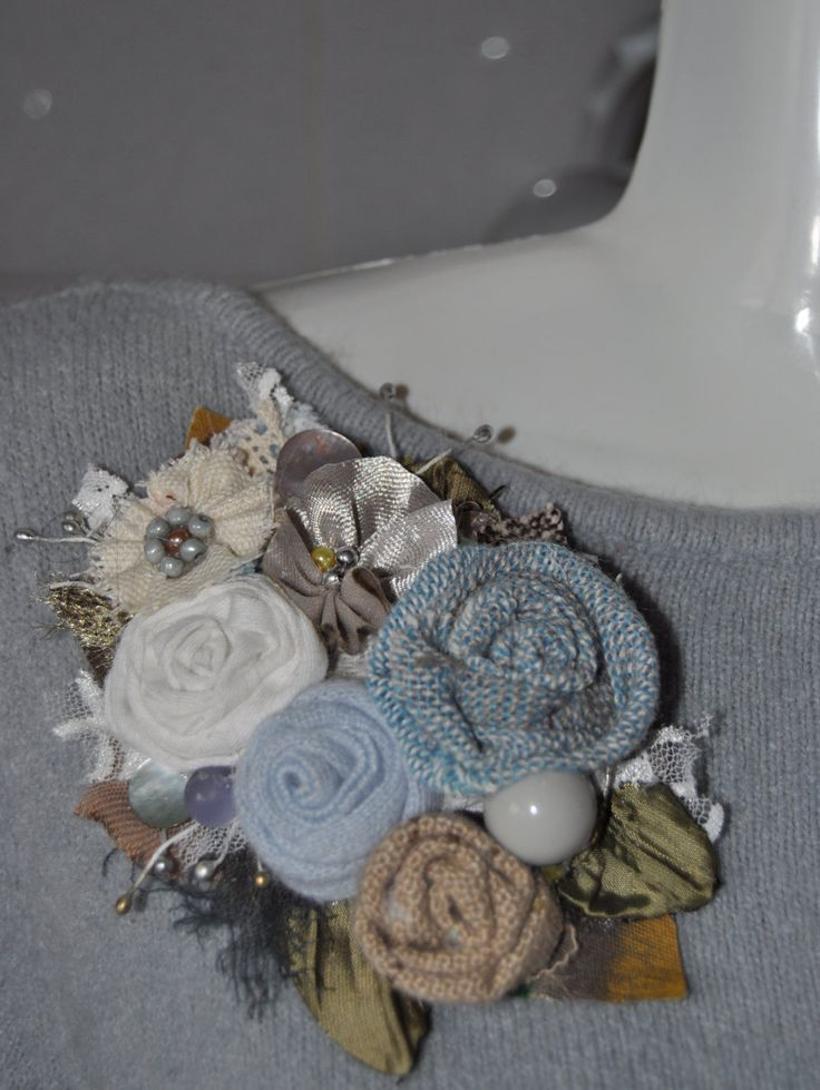 ROMANTIC Cashmere silk corsage brooch dress coat hat pin handmade vintage style rose smoky blue grey cream silver rose flower valentines day by edgeofthesand on Etsy
