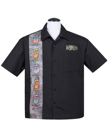 """Rat Fink is one of the several hot rod characters created by artist Ed """"Big Daddy"""" Roth, one of the originators of Kustom Kulture of automobile enthusiasts. Roth conceived Rat Fink as an anti-hero answer to Mickey Mouse.  Steady Clothing's Rat Fink Five Finks Button Up features a graphic panel of five differently colored Rat Finks on the right front and the embroidered phrase """"Ed 'Big Daddy' Roth"""" above the left breast pocket. Customize this shirt with our cust..."""