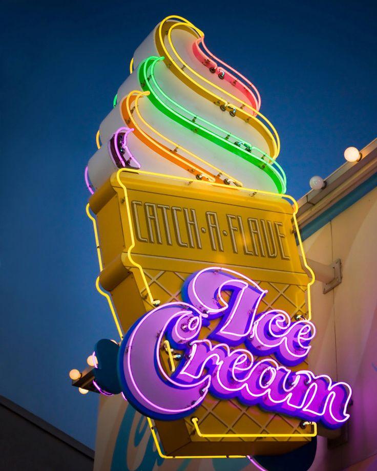 Retro Neon Ice Cream Cone Sign - Kitchen Decor - Ice Cream Shoppe Art - Retro Home Decor - 8X10 Fine Art Photograph, via Etsy.