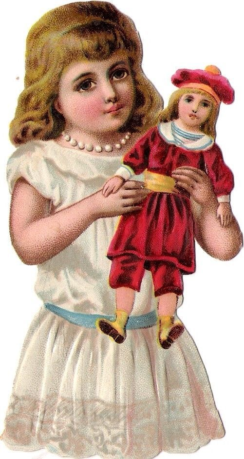 Oblaten Glanzbild scrap die cut chromo Kind child enfant  Puppe doll poupee