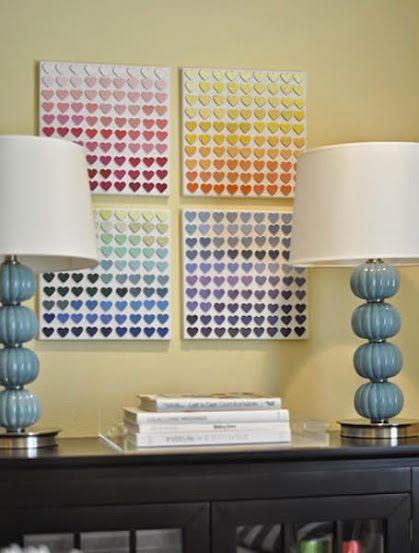 Quadro de corações com paleta de cores #decoração #quadro  Quer saber mais? Confira: http://www.revistaartesanato.com.br/quadros-artesanais-com-coracoes-de-papel