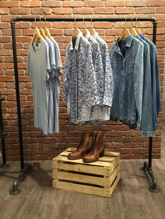 Industrial Style Clothing Pipe Rack Display  Designed by William Roberts Vintage this clothing pipe rack display is perfect for home or
