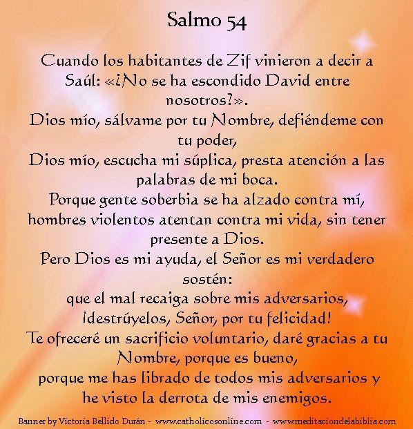 Plegaria pidiendo protección   contra los enemigos    Salmo 54:1_7    Oh Dios salvame por tu nombre,y   ¡Defiéndeme con tu poder!   Escu...