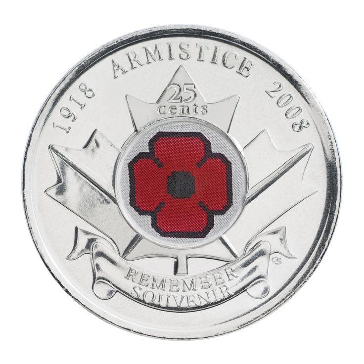 Pièce de circulation de 25 cents – 90e anniversaire de la fin de la Première Guerre mondiale (2008)