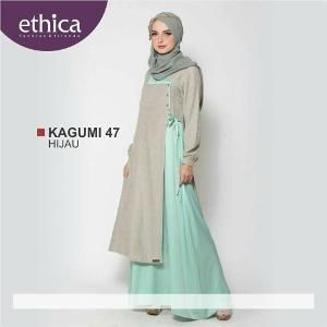 Baju Muslim Wanita Gamis Kagumi 47 Hijau - SALE