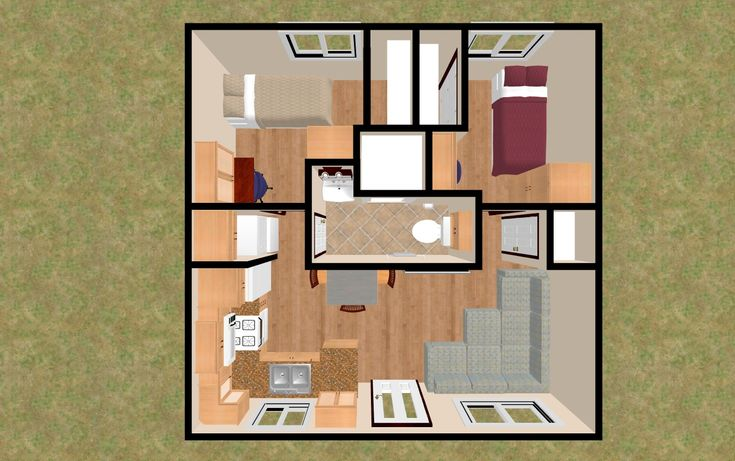 The 3D Top View Of 20 39 X 20 39 400 Sq Ft 2 Bedroom 3 4 Bath That Has It