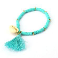 Julie Groen Nieuwste Polymeer Klei CCB Kralen Kwastje Shell Armbanden & Bangles Elastische Armband voor Vrouwen Mannen Sieraden JJ10031(China (Mainland))