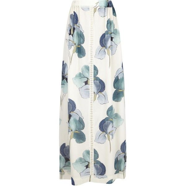 Tory Burch Kendra Floral Chiffon Maxi Skirt ($150) ❤ liked on Polyvore featuring skirts, tory burch, white chiffon skirt, colorful maxi skirts, floral chiffon skirt, white floral maxi skirt and white skirt