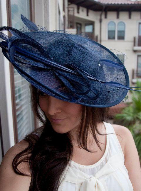 Navy Blue Fascinator Hat Wendy Wide Slightly Brimmed Mesh On A Headband Tea Time Pinterest