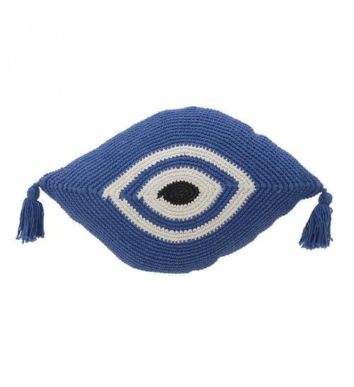 FABRIC MACRAMME CUSHION COVER 'EYE' IN WHITE_BLUE COLOR 30X50