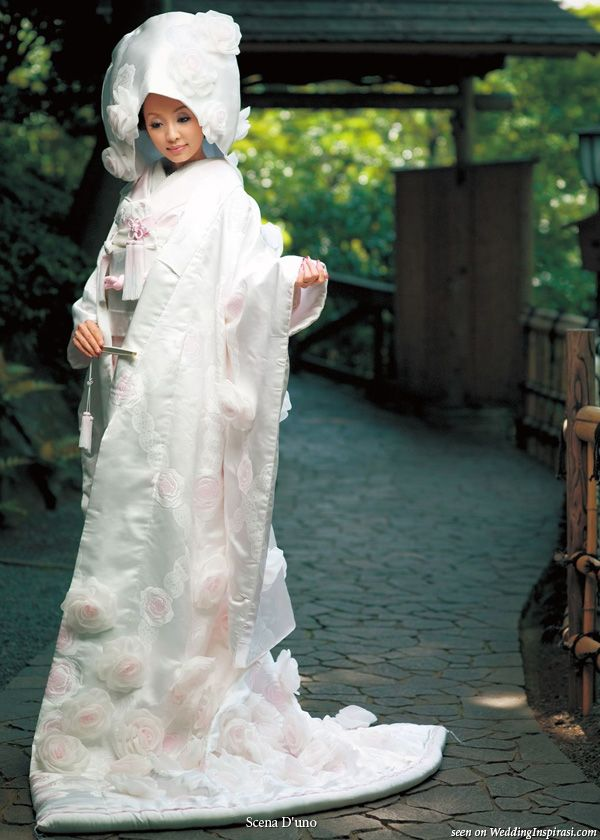 Japanese White Wedding Kimono With Light Pink Flowers Worn Ceremonial Over Coat Long