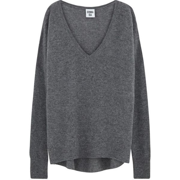 DONNA IDA Lauren V-Neck Cashmere Knit - Slate ($245) ❤ liked on Polyvore featuring tops, sweaters, long sleeves, slate, v neck sweater, loose long sleeve tops, long sleeve sweater, loose fit tops and loose sweaters