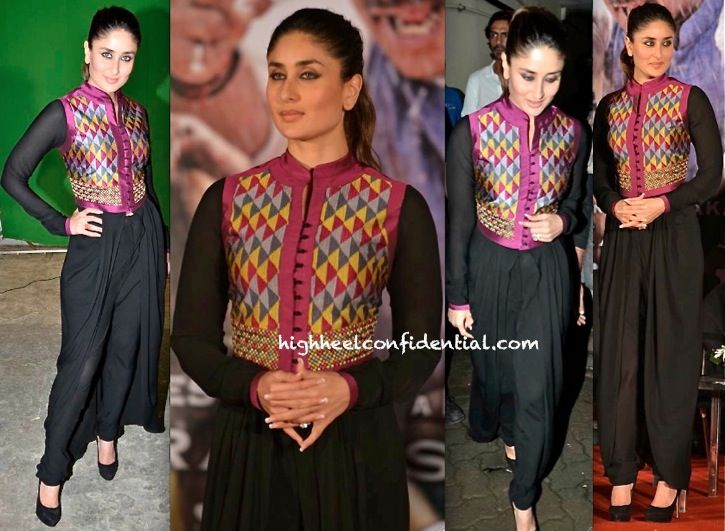 Kareena Kapoor in Payal Pratap. Kareena makes it work. Beautifully draped dhoti with a traditional jacket. Minimal accessories and pulled back hair. The look speaks for itself!