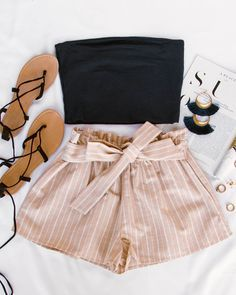 Festive Ready Stripe Shorts – Taupe – Jen Amundson