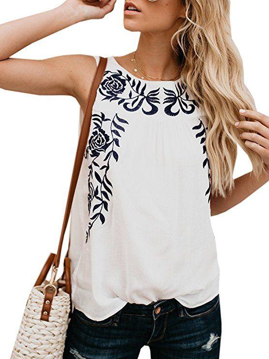 899bdb91b7d57c Dellytop Womens Summer Casual Tank Top Floral Printed Loose Fit Sleeveless  Shirt |Summer Tops Women Casual