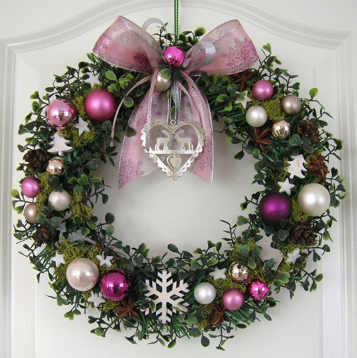 Weihnachtskranz rosa Adventskranz Wandkranz Türkranz Weihnachten Kranz Kugeln
