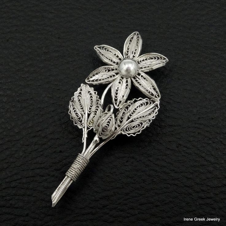 Excited to share the latest addition to my shop: Flower Brooch Filigree Style 925 Sterling Silver Greek Handmade Art Big Luxury