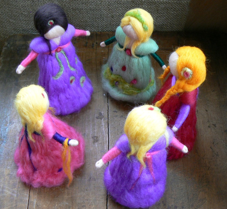 Needle felted Doll, Waldorf, 5 doll, Birthday Present, Stocking Filler, Toy, Princess - Circle of Friends. $25.00, via Etsy.