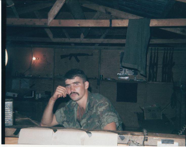 Oliver North 2nd Platoon bunker CP at Con Thien, Vietnam. Jan '69.
