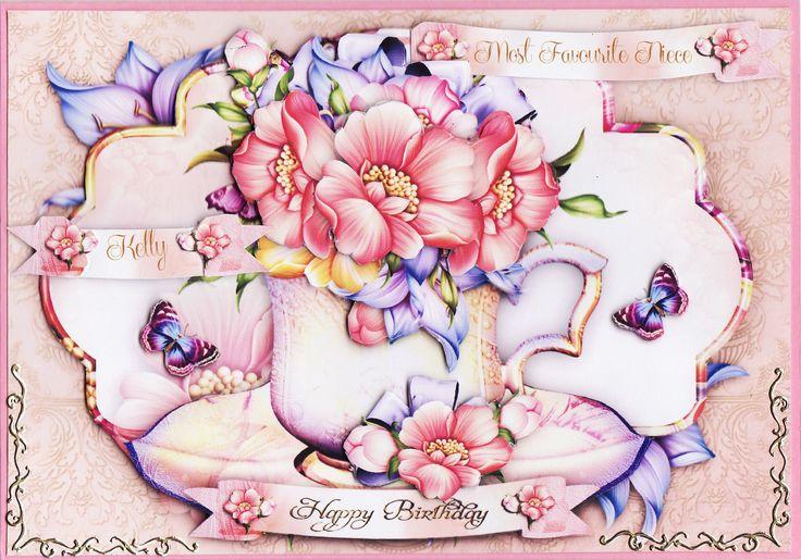 3D flowers in a cup Birthday Card (by Tassie Scrapangel)