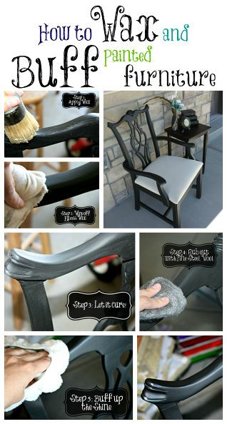 waxing and buffing black painted furniture to a beautiful shine, painted furniture