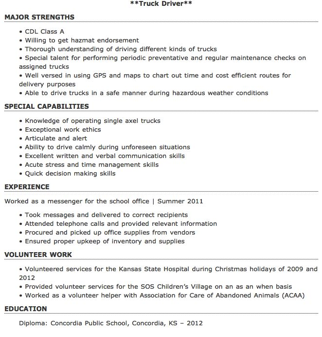 new truck driver resume sample canada