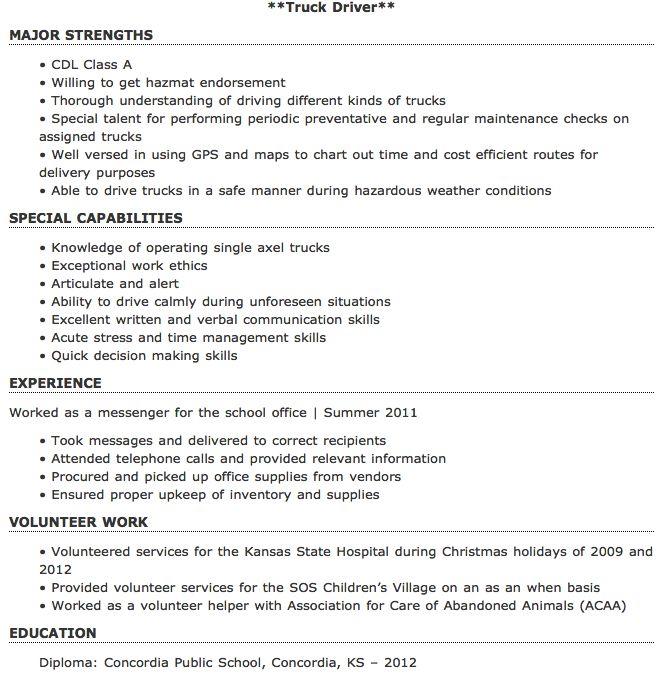 Entry Level Truck Driver Resume Sample - http://resumesdesign.com/entry-level-truck-driver-resume-sample/