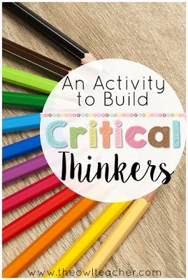 Teaching critical thinking worksheets Pinterest