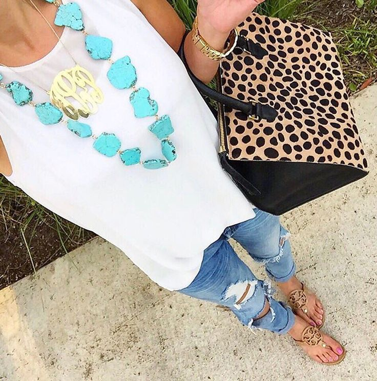 H m patterned dress beige with teal necklace
