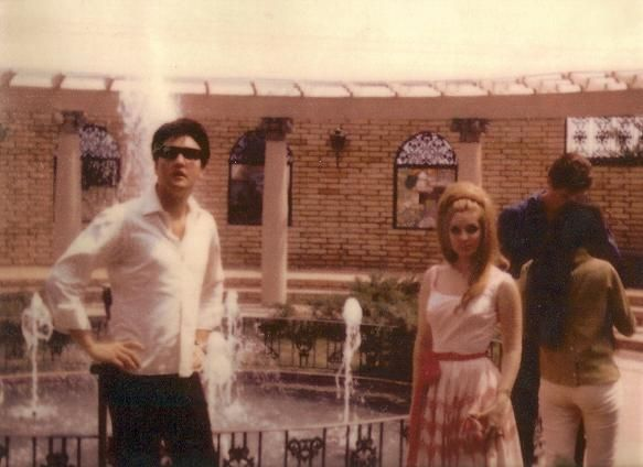 VINTAGE Elvis Presley and Priscilla standing in the same garden where he would be laid to rest one day!