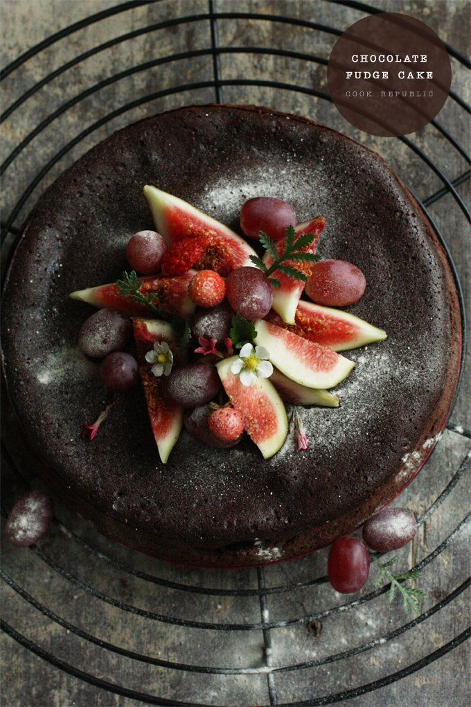 Chocolate Fudge Cake With Red Fruit - Cook Republic