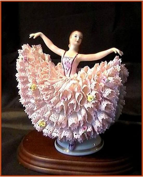 """*MADAMA BUTTERFLY ~ Irish Dresden, Material: lace porcelain. Figurine """"Madama Butterfly"""" is a frozen mass of porcelain lace, lace from the famous Dresden china, light + delicate, graceful + airy."""