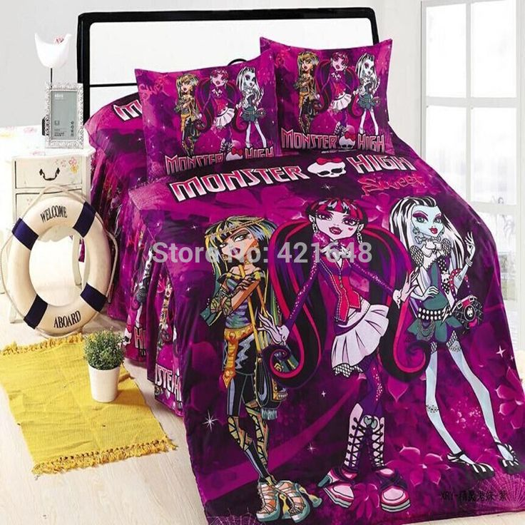 NEW !100% Cotton HOT Monster High Bedding 3 Pieces Pink/Purple Twin/