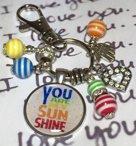 You are my sunshine handmade keyring  by Fizzbombkeyrings on Etsy