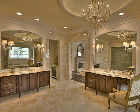 French style Master Bath in honey onyx stone...