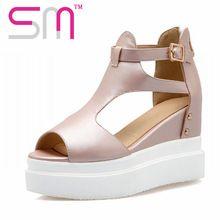Moda Peep Toe Sandalias de Las Cuñas de Las Mujeres Sandalias de Plataforma Sandalias de Gladiador Sexy Zapatos de Verano Zapatos de Mujer Venta de La Fábrica de Las Mujeres(China (Mainland))