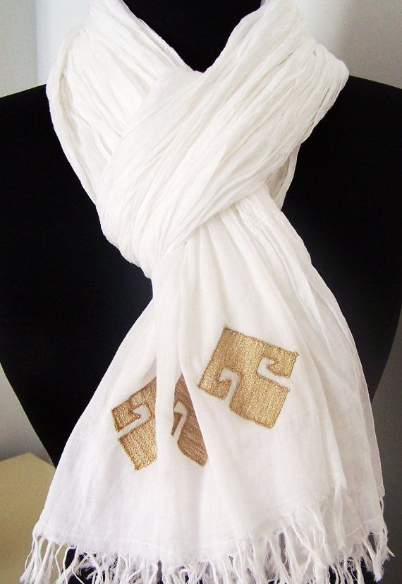 Elibelindeart/Handmade white cotton scarf for by elibelindeart