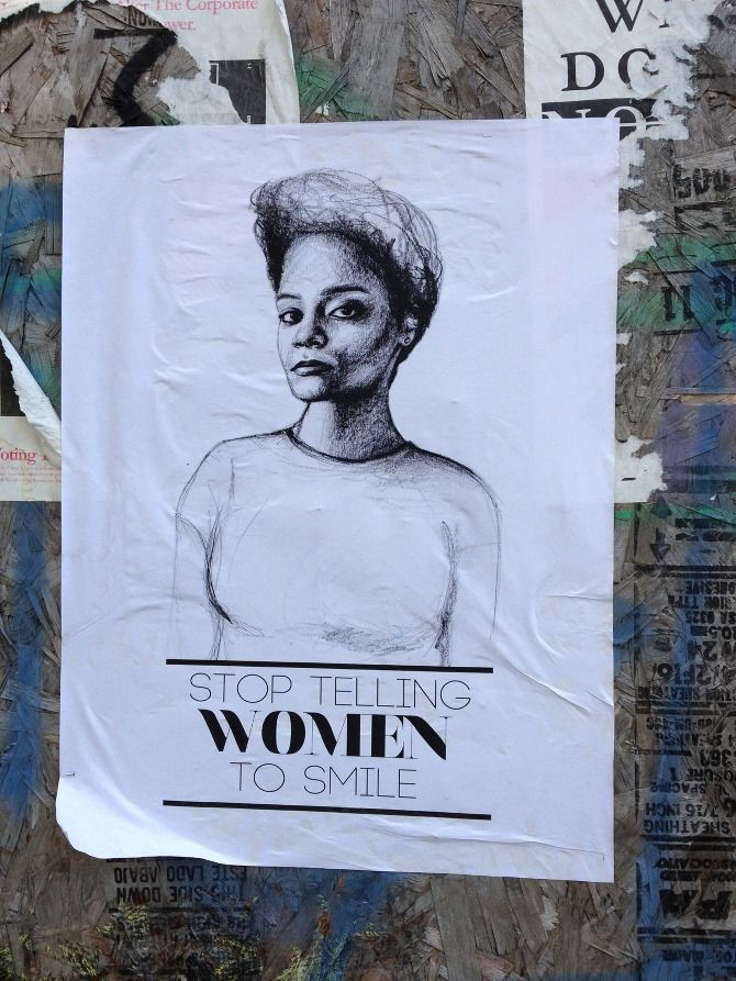 Stop Telling Women to Smile is a street art project by Tatyana Fazlalizadeh that addresses gender based street harassment.