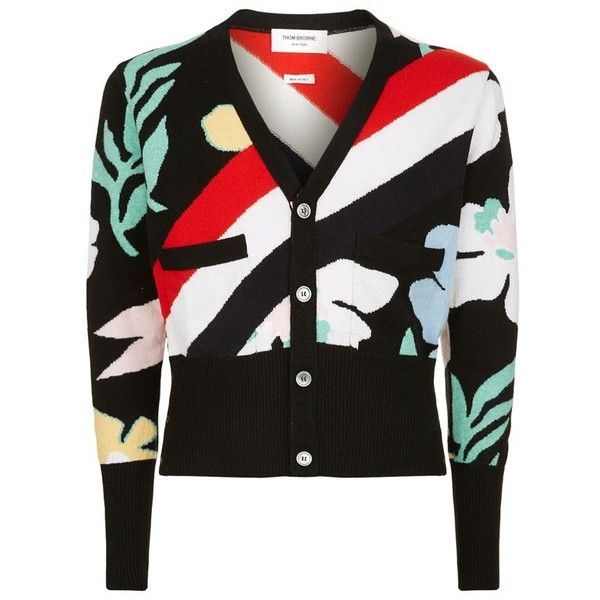 Thom Browne Cashmere Floral Cardigan ($1,845) ❤ liked on Polyvore featuring men's fashion, men's clothing, men's sweaters, mens cardigan sweater, mens cashmere sweaters, mens cashmere cardigan sweater and mens floral sweater