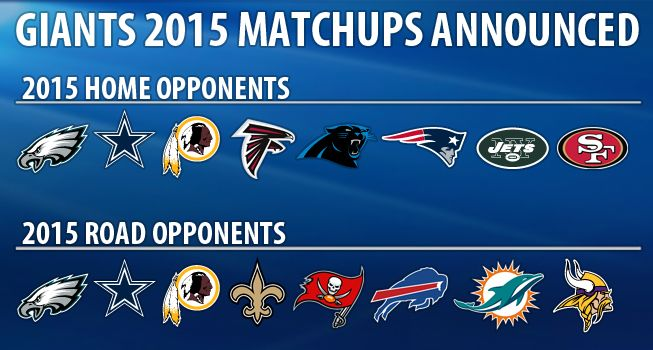 New York/New Jersey Giants 2015 Schedule.... Will we see you then!!!