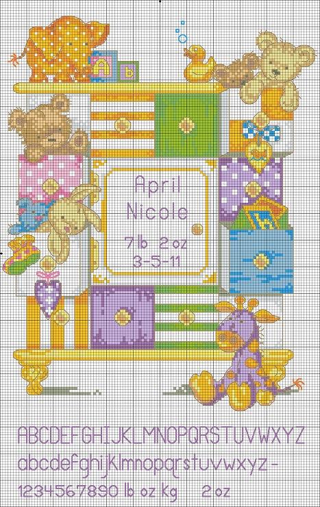 toy shelf baby sampler cross stitch