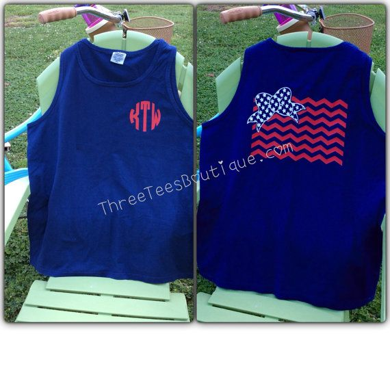 Comfort Colors Tank Top Monogram Tank Top in by ThreeTeesBoutique