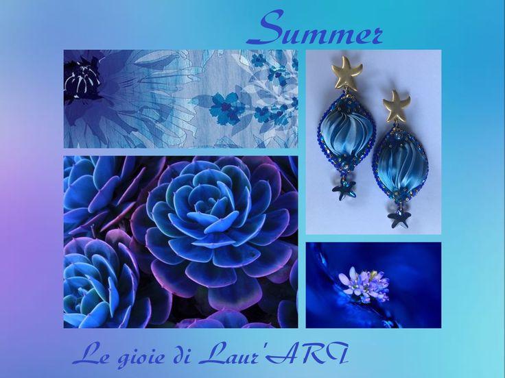 Orecchini in seta shibori e stelle marine in cristallo Swarovski blu bermuda