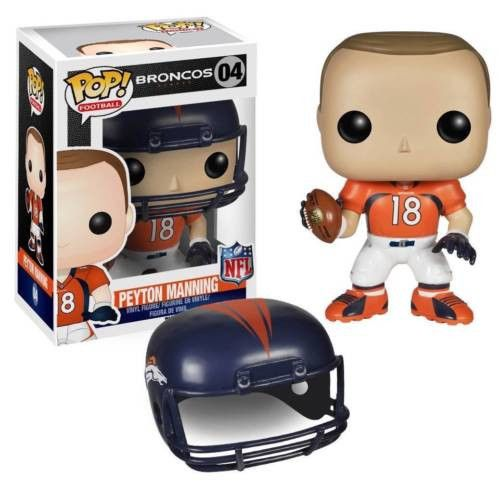 Peyton Manning is arguably the best ever to go under center in NFL history! Peyton Manning stands 3 3/4-Inch tall in Pop! Vinyl Format and comes packaged in a window display box. Peyton Manning comes in his home orange Broncos uniform and comes with a removable Denver Broncos helmet! #funko #popvinyl #actionfigure #collectible #toy #nfl